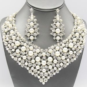 Pearl Collar Necklace and Earring Set